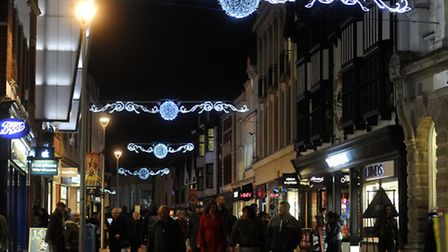 Christmas shoppers in Ipswich.