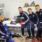 Ipswich Town players visit Ipswich Hospital to give out presents. L-R: David McGoldrick, Liam Baldry