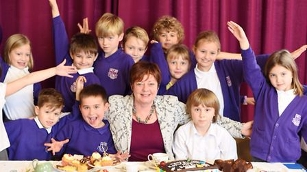 Pupils held an all-day tea party for headteacher Alison Beckett, who is retiring.