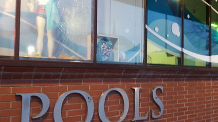 Window smashed at Ipswich Crown Pools.
