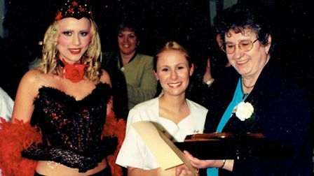 Carolyn winning the Suffolk New College make-up competition in 2002.