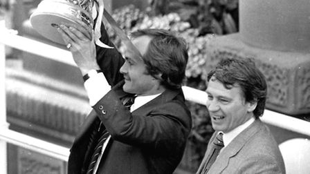 Mick Mills and Bobby Robson with the UEFA Cup in 1981. (Photo Dave Kindred/Archant)