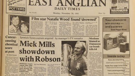 The front page of the EADT on November 30, 1981