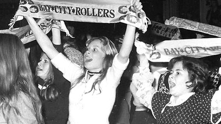The Tartan Army cheering on The Bay City Rollers in Ipswich in 1976.