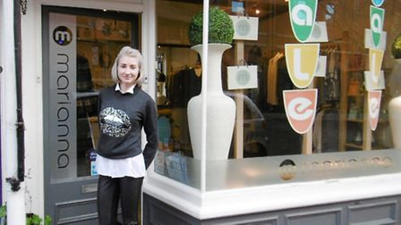 Boutique owner Arabella Brown outside Marianna, St Peter's Street, Ipswich