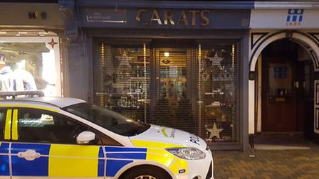 The scene of the jewellery theft in Ipswich town centre.