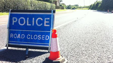 The road is blocked in both directions.