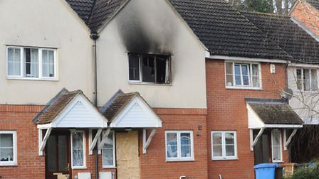 The aftermath of a Christmas Day fire in La Salle Close, Ipswich.