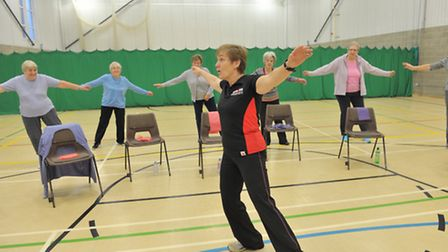 The Active Adults class which meets twice a week at Kesgrave Community Centre sports hall