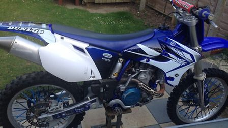 A blue Yamaha YZ450F Moto X motorcycle was stolen from Rattlesden Close, Stowmarket. Pic: Suffolk Co