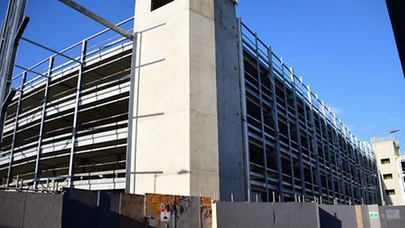 The new Rose Lane multi storey car park under construction in Norwich - a new Crown Car Park could b