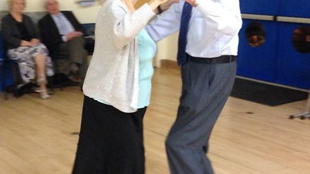 Cedarwood Dance Club celebrates birthday of Marjorie Pinder, who is still dancing at 97 - with husba