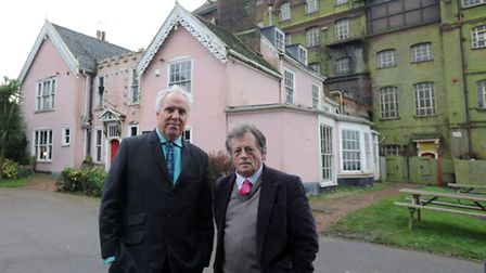 Architect John Lyall with Clive Thompson in front of the brewery.