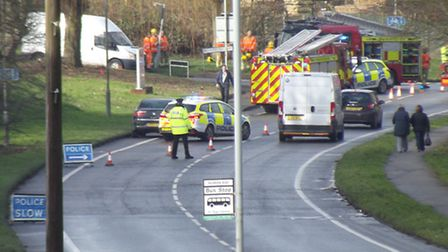 A Renault Clio and a Mercedes E220 were involved in a collision in Sandy Hill Lane near the Landseer