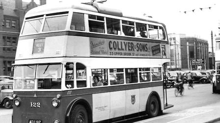 Ipswich trolley bus 122 at Crown Street in the 1950s. This bus was taken out of service in 1962 and