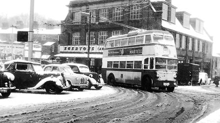 Ipswich trolley buses in the snow of late February 1958. This photograph was taken as they arrived a