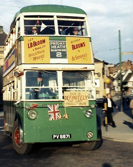 The last trolley bus to run in Ipswich was on August 23, 1963. This photograph was taken as the last