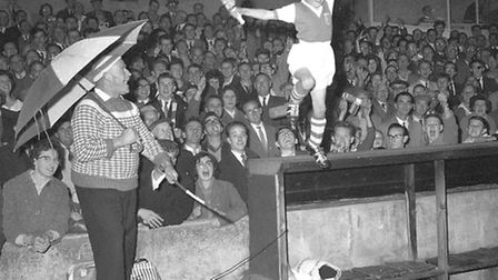 ÔSwedeÕ Herring with the match mascot at Portman Road in the early 1960s.