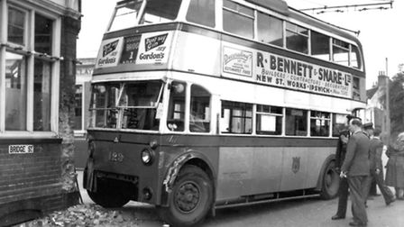 A trolley bus collided with the Crown public house at the junction of Bridge Street and Greyfriars R