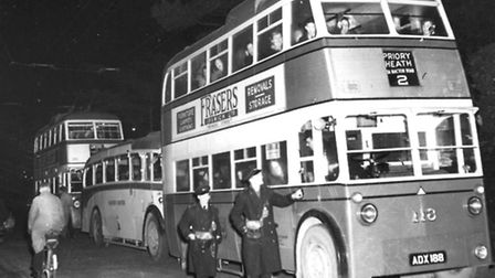 Two Ipswich trolley buses and a coach were involved in an incident at the top of Bishops Hill in the