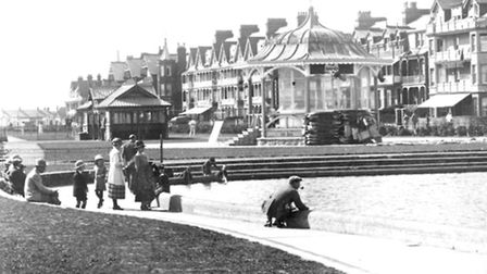 The yacht pond with a bandstand and shelter nearby. A photograph from around a century ago with Sea