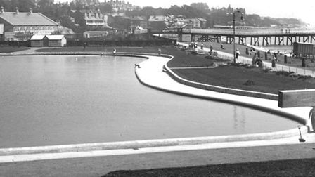 The Felixstowe yacht pond in an Edwardian photograph taken from a bandstand.
