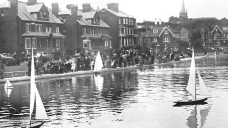 The model yacht pond at Felixstowe as it was around a century ago.