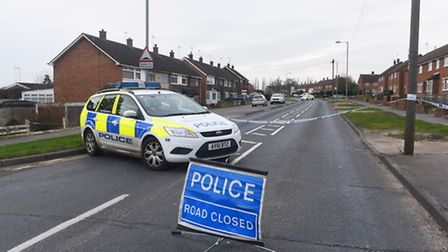 The scene of the collision in Hawthorn Drive, Ipswich, yesterday.
