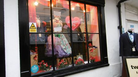 Shopkeeper Sophia Norris is ready for Valentine's Day, at Pocket Watch and Petticoats, Ipswich