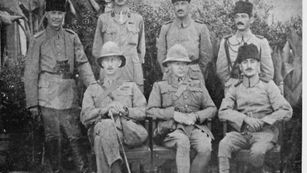 Major-General Townshend, Khalil Pasha and other unidentified officers after the surrender of the Kut