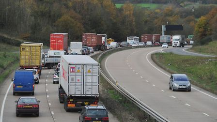Heavy traffic on the A14.