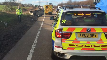 Overturned car on the A14