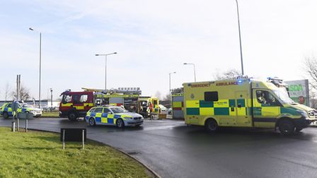 A two car incident near the Whitehouse Asda in Ipswich