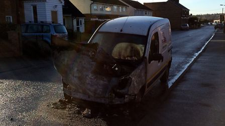 Firefighters tackled a car fire in Brantham on Friday morning. Pic: Louise Mills.