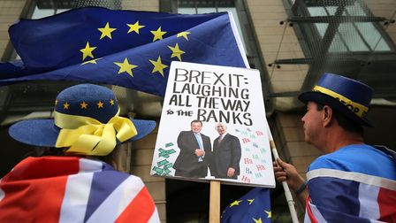 Pro-remain protesters outside Portcullis House as Leave.EU founder Arron Banksgave evidence to the s