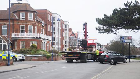 Road traffic incident at Wolsey Gardens, Felixstowe.