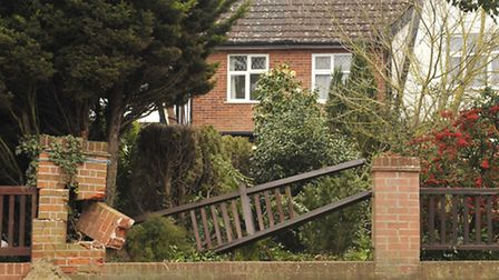 The damage caused to the fencing and brickwork in Westerfield Road by Joshua Turmel.