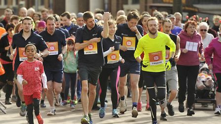 Runners take part in the Sainsbury's Sport Relief Mile in Ipswich town centre.