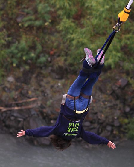 Hazel-Wendy Massey, who did a bungee jump in New Zealand to raise money for the Samaritans, for whic