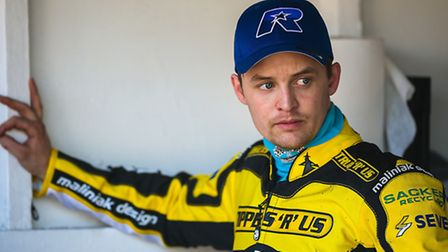 Morten Risager in the pits during the Ipswich Speedway Practice Day at Foxhall Stadium, Ipswich, Suf