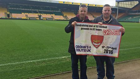 Chris and Stuart Daynes at Carrow Road, home of Norwich FC. Pic: Chris and Stuart Daynes.