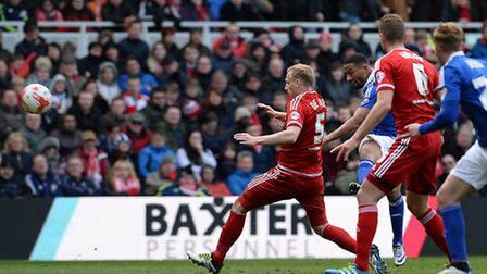 Liam Feeney blasts a rare Ipswich effort on goal well into the stands at Middlesbrough
