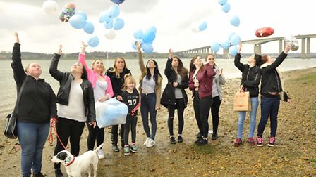 Friends of Weronika Stepien celebrate what would have been her 18th birthday by releasing balloons o