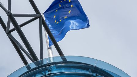 European flag on the roof of SPD party headquarters Credit: Jens Büttner/PA