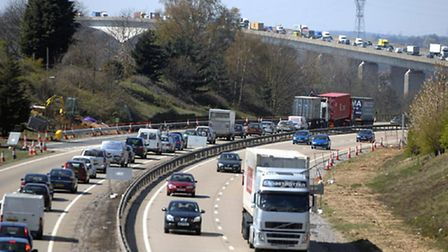 File picture of traffic on the Orwell Bridge.