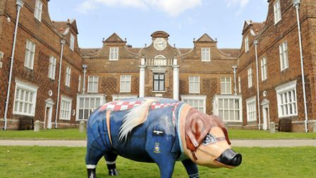 Tally-Ho Trotters, the Pigs Gone Wild mascot, visits Christchurch Mansion.