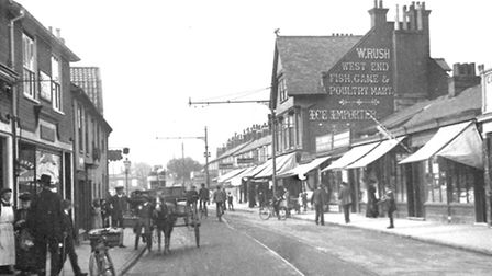 Norwich Road looking towards the junction with Bramford Road on a busy day around 1912.