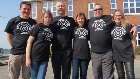 Members of the Claydon High School reunion organising committee outside the school – (from left to r