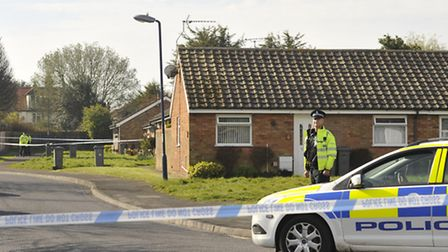 Police cordon off an area of Gosford Way in Felixstowe after a woman in her 60s was found dead at pr
