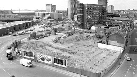 The view from the tower of St Peters Church, Ipswich, in August 1987, as a site had been cleared to